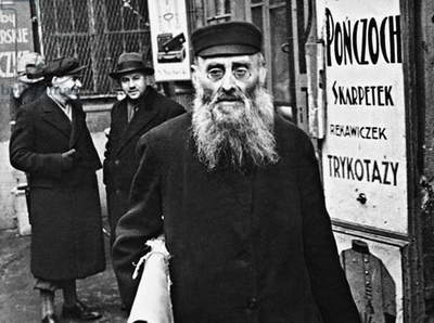 Polish Jew in the Jewish Quarter of Warsaw, 1934 (b/w photo)
