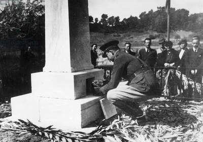 Crown Prince Paul of Greece lays to rest the heart of Pierre de Coubertin, 1938 (b/w photo)