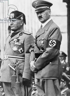 Benito Mussolini and Adolf Hitler, 1937 (b/w photo)