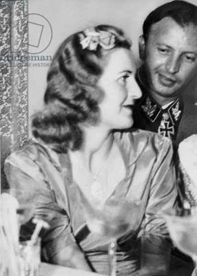 Eva Braun and Hermann Fegelein, 1944 (b/w photo)