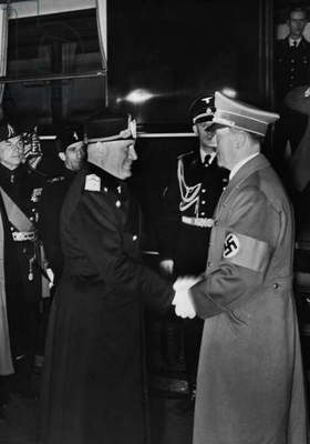 Benito Mussolini and Adolf Hitler at the station, 1938 (b/w photo)