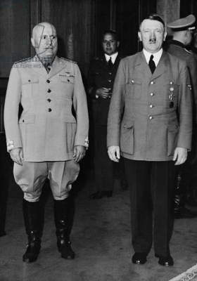 Benito Mussolini and Adolf Hitler in Munich, 1940 (b/w photo)
