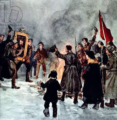 russian soldiers burning the portrait of czar Nicholas II during the russian revolution in 1917, illustration