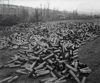 cartridge of shell after attack of the French artillery in Verdun, 1916