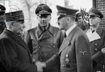 Philippe Petain (1856-1951) meeting Adolf Hitler in Montoire (France) on october 24, 1940 with them Colonel Schmidt as translator