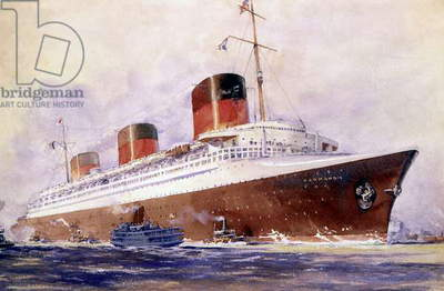 transatlantic liner Normandie (built in SaintNazaire and launched on october, 19 1932) towed to Saint-Nazaire, march 1935, watercolor