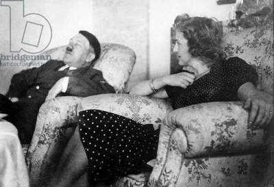 Adolf Hitler and his mistress Eva Braun in Berghof in Berchtesgaden Bavaria c. 1940