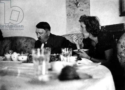 Adolf Hitler and his mistress Eva Braun in Berghof in Berchtesgaden, Bavaria, c. 1940
