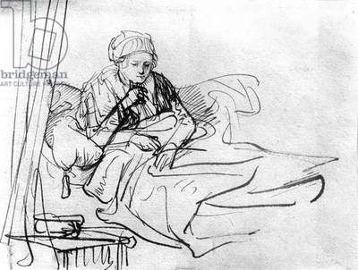 Sick woman in bed, drawing by Rembrandt van Rijn (1606-1669)