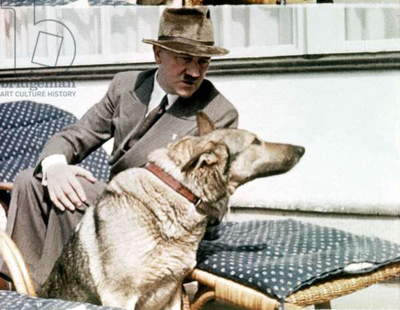 Adolf Hitler with a german sheperd (Blondie) in Berchtesgaden in Bavaria in 1935
