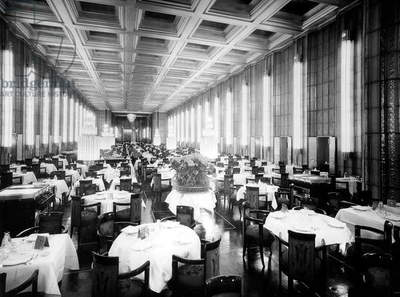 first class dining room on transatlantic liner Normandy (built in SaintNazaire and launched on october, 19 1932) 30's