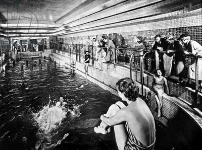 swimming poll in the first class section aboard transatlantic liner Normandy (built in SaintNazaire and launched on october, 19 1932) of the Transatlantic Company