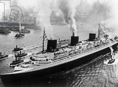 Liner Normandy (built in SaintNazaire and launched on october, 29 1932) of the Transatlantic Company here entering New York harbour june 3, 1935