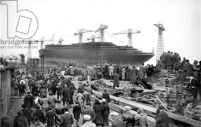 launching of liner Normandy of the Transatlantic Company in Saint-Nazaire France october 19, 1932