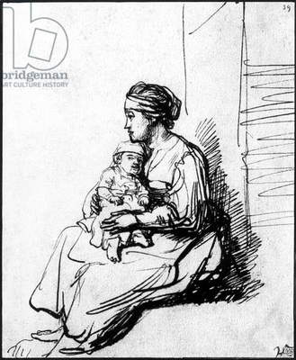 Mother and her child, drawing by Rembrandt van Rijn (1606-1669)