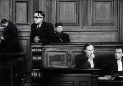 Trial of Robert Brasillach (1909-1945) in january 1945