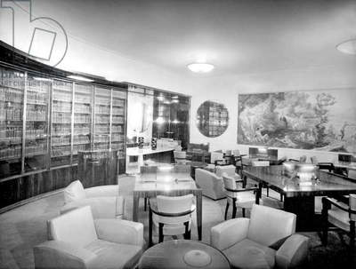 Library aboard liner Normandy (built in SaintNazaire and launched on october, 19 1932) of the Transatlantic Company