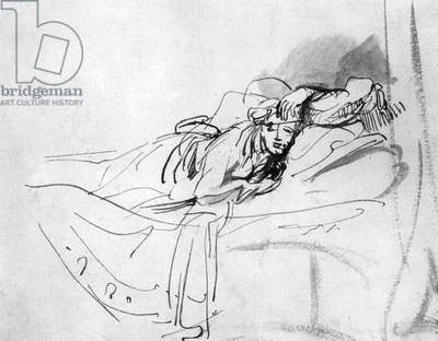 Study of Saskia Lying in Bed 1638, by Rembrandt Harmenszoon van Rijn