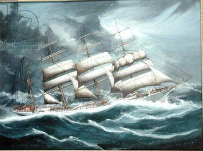 The Barque 'Austrasia' in Foul Weather, c.1900 (oil on canvas) (see 195175)