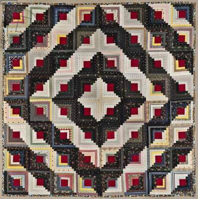 Log Cabin Quilt, Barn Raising Setting, c.1890 (cotton)