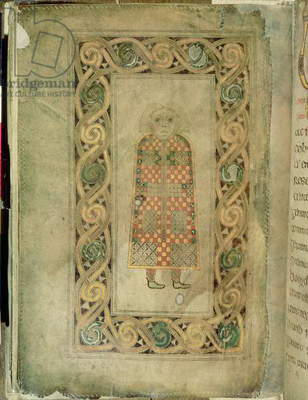 MS 57 fol.21v The Man, symbol of St. Matthew the Evangelist, introductory page to the Gospel of St. Matthew, Irish, from Durrow, County Offaly (vellum)