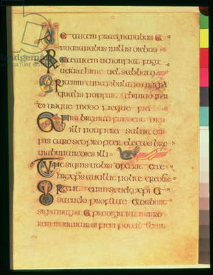 MS 58 fol.104r Page of majuscule script with zoomorphic initials, by scribe D, from the Book of Kells, c.800 (vellum)