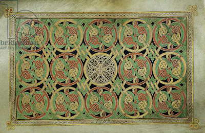 MS 57 fol.85v Carpet page preceding St. Mark's Gospel with circles of interlacing design linked with angular interlacing, from the Book of Durrow, c.650-700 (vellum)