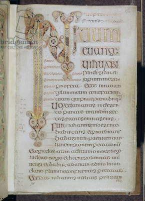 MS 57 fol.86r The opening words of the Gospel of St. Mark, from the Book of Durrow, c.650-700 (vellum)