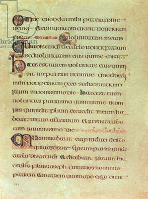 MS 58 fol.309r Page of Latin script by scribe A, from the Book of Kells, c.800 (vellum)