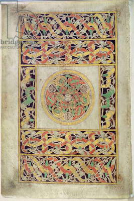 Ms 57, f.192v: Carpet Page, from the Book of Durrow, c.650-700 (vellum)