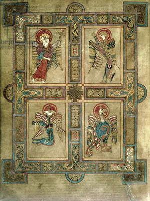 MS 58 fol.27v Introductory page to the Gospel of St. Matthew depicting winged symbols of the Four Evangelists framed in panels, from the Book of Kells, c.800 (vellum)