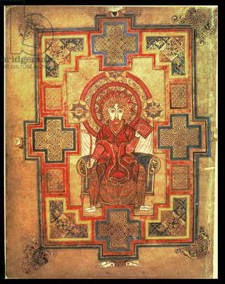 MS 58 fol.291v Portrait of St. John, page preceding the Gospel of St. John, from the Book of Kells, c.800 (vellum)
