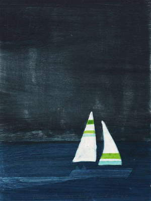 Night Sail 6/10, 2012 (hand-coloured etching)