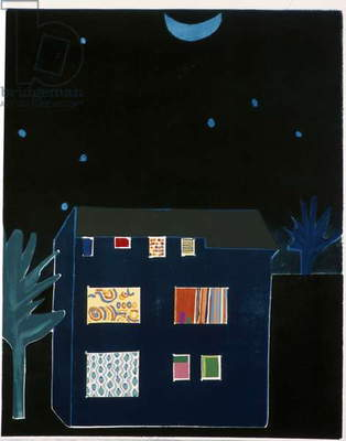 House in Moonlight, 2002 (colour woodcut)