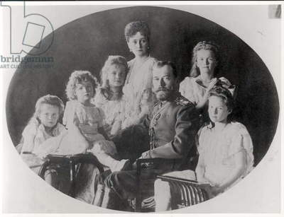 The Family of Tsar Nicholas II (1868-1918) (b/w photo)