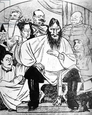 Satirical Cartoon depicting Rasputin and the Romanov Imperial Family (litho)