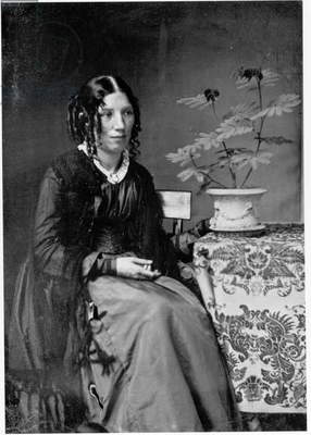 Portrait of Harriet Elizabeth Stowe (nee Beecher) (b/w photo)