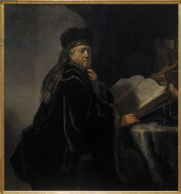 Rembrandt van Rijn (1606-1669). A Scholar in his study or A Scholar Seated at a Desk, 1634.