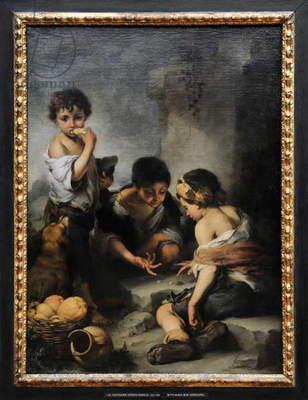 Beggar boys playing dice, 1675, by Bartolome Esteban Murillo (1618-1682).