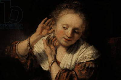 Young Woman with Earrings, 1657, by Rembrandt Harmenszoon van Rijn (1606-1669).