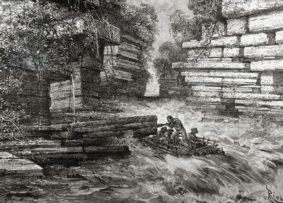 Lewis and Clark Expedition (1803-1806). Pass the first stream. Engraving.