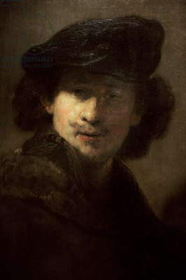 Self-portrait with Velvet Beret and Furred Mantel, 1634, by Rembrandt (1606-1669).