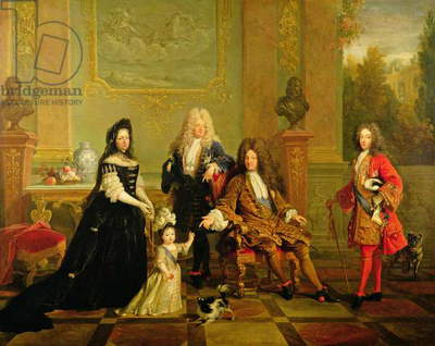Madame de Ventadour with Louis XIV and his heirs, c.1715-20 (oil on canvas)
