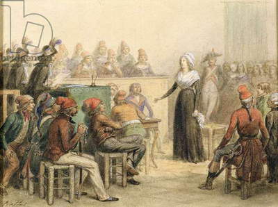 The Trial of Marie Antoinette, 1845 (pencil & w/c on paper)