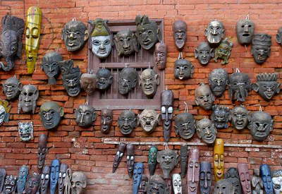A mask shop at Vaktipur, Nepal. August 19, 2005.  (photo)