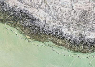 Nepal, Relief Map With Border