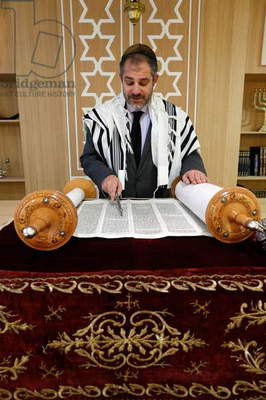 Reading of the Torah in a Synagogue (photo)