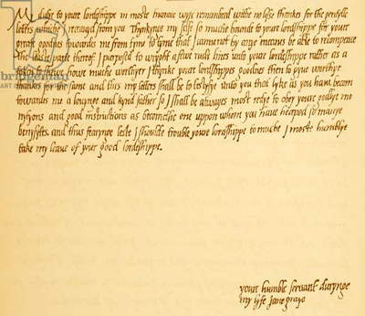 Letter from Lady Jane Grey to Admiral Lord Serymour 1568