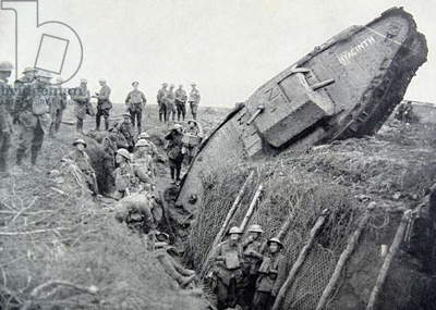 German Mark IV tank 'Hyacinth' stuck in a trench, 1917