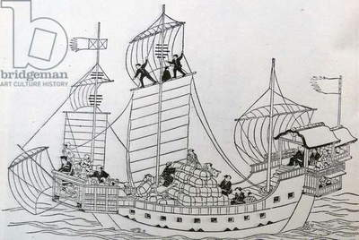 Illustration of a trading ship of Old Japan